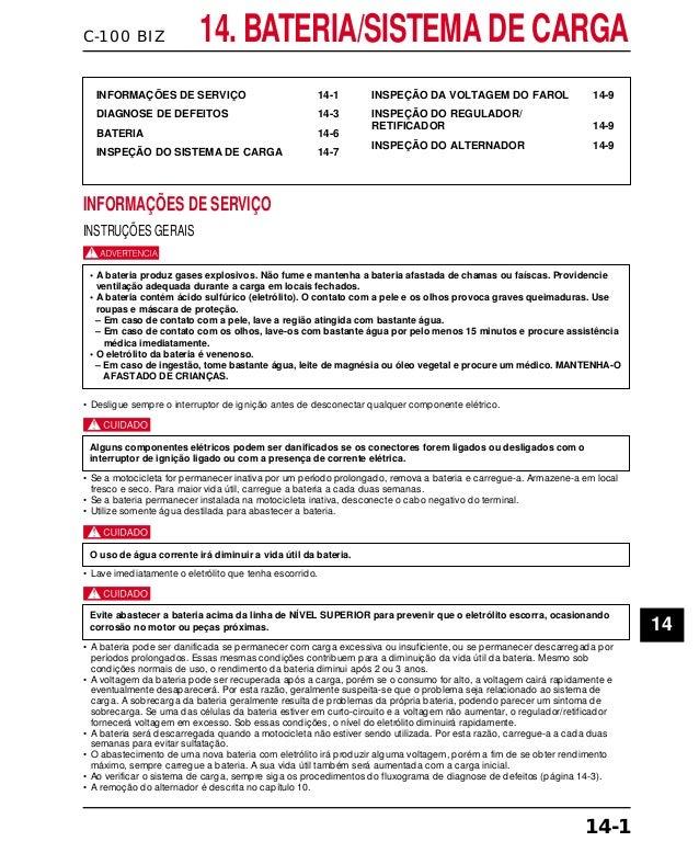 C-100 BIZ 14. BATERIA/SISTEMA DE CARGA INFORMAÇÕES DE SERVIÇO 14-1 DIAGNOSE DE DEFEITOS 14-3 BATERIA 14-6 INSPEÇÃO DO SIST...