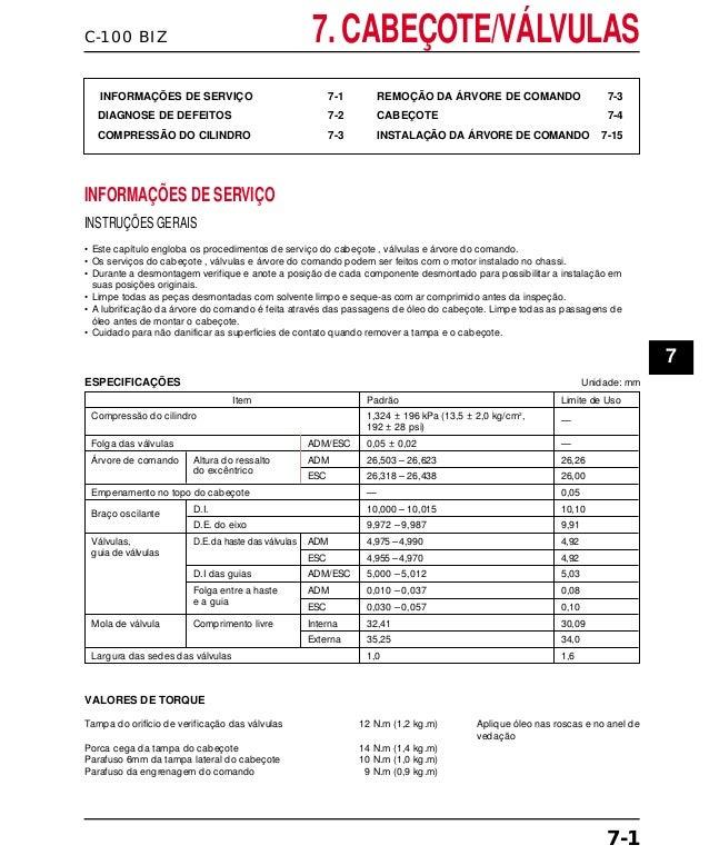 C-100 BIZ 7. CABEÇOTE/VÁLVULAS INFORMAÇÕES DE SERVIÇO 7-1 DIAGNOSE DE DEFEITOS 7-2 COMPRESSÃO DO CILINDRO 7-3 REMOÇÃO DA Á...