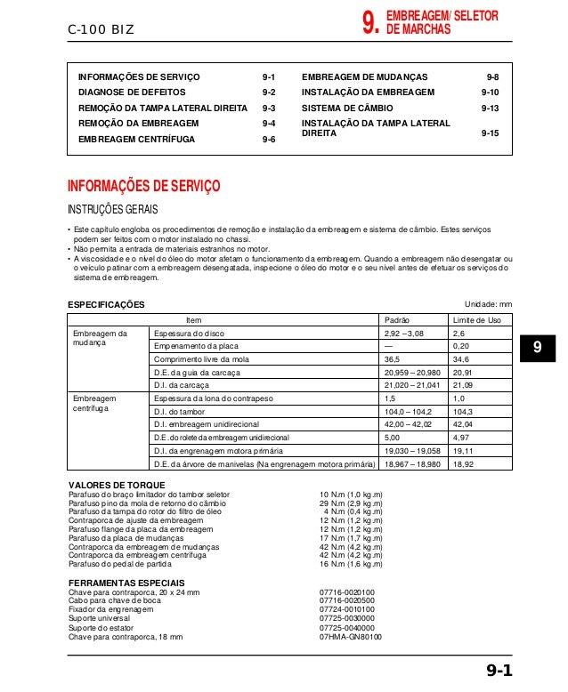 C-100 BIZ INFORMAÇÕES DE SERVIÇO 9-1 DIAGNOSE DE DEFEITOS 9-2 REMOÇÃO DA TAMPA LATERAL DIREITA 9-3 REMOÇÃO DA EMBREAGEM 9-...