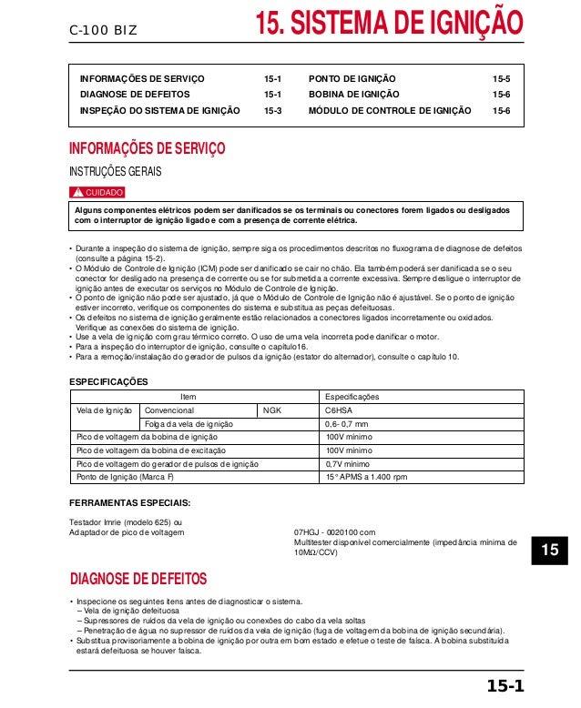 C-100 BIZ 15. SISTEMA DE IGNIÇÃO INFORMAÇÕES DE SERVIÇO 15-1 DIAGNOSE DE DEFEITOS 15-1 INSPEÇÃO DO SISTEMA DE IGNIÇÃO 15-3...