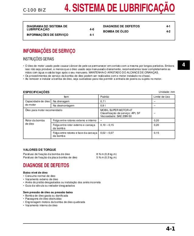 C-100 BIZ 4. SISTEMA DE LUBRIFICAÇÃO DIAGRAMA DO SISTEMA DE LUBRIFICAÇÃO 4-0 INFORMAÇÕES DE SERVIÇO 4-1 DIAGNOSE DE DEFEIT...