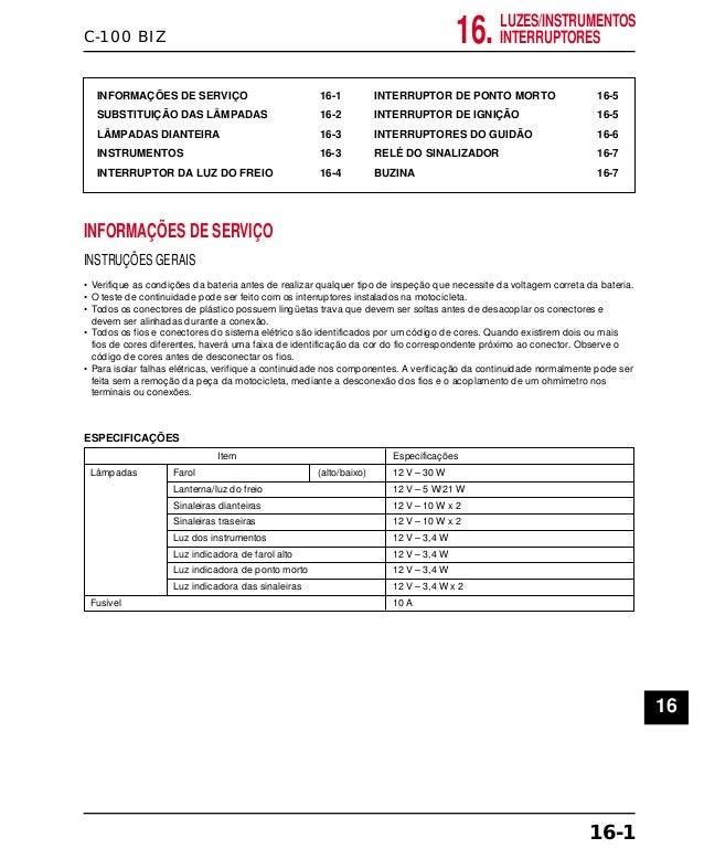 C-100 BIZ INFORMAÇÕES DE SERVIÇO 16-1 SUBSTITUIÇÃO DAS LÂMPADAS 16-2 LÂMPADAS DIANTEIRA 16-3 INSTRUMENTOS 16-3 INTERRUPTOR...