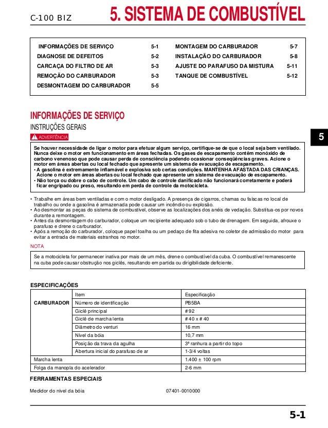 C-100 BIZ 5. SISTEMA DE COMBUSTÍVEL INFORMAÇÕES DE SERVIÇO 5-1 DIAGNOSE DE DEFEITOS 5-2 CARCAÇA DO FILTRO DE AR 5-3 REMOÇÃ...