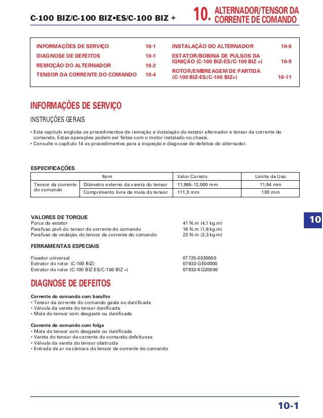 C-100 BIZ/C-100 BIZ•ES/C-100 BIZ + INFORMAÇÕES DE SERVIÇO 10-1 DIAGNOSE DE DEFEITOS 10-1 REMOÇÃO DO ALTERNADOR 10-2 TENSOR...