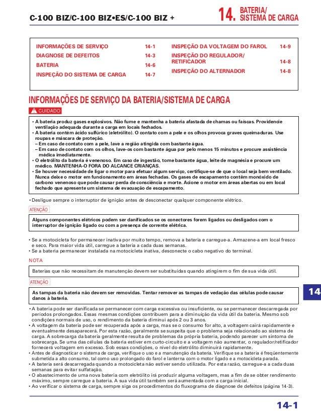 C-100 BIZ/C-100 BIZ•ES/C-100 BIZ + BATERIA/ SISTEMA DE CARGA INFORMAÇÕES DE SERVIÇO 14-1 DIAGNOSE DE DEFEITOS 14-3 BATERIA...