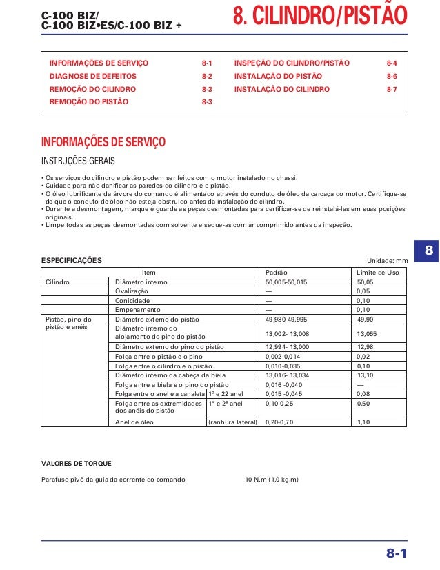 C-100 BIZ/ C-100 BIZ•ES/C-100 BIZ + 8. CILINDRO/PISTÃO INFORMAÇÕES DE SERVIÇO 8-1 DIAGNOSE DE DEFEITOS 8-2 REMOÇÃO DO CILI...