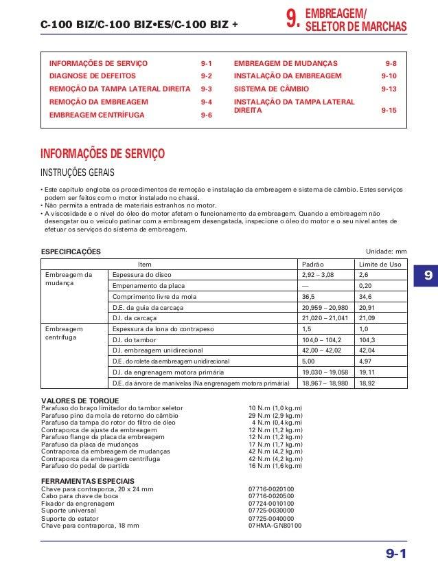 C-100 BIZ/C-100 BIZ•ES/C-100 BIZ + INFORMAÇÕES DE SERVIÇO 9-1 DIAGNOSE DE DEFEITOS 9-2 REMOÇÃO DA TAMPA LATERAL DIREITA 9-...