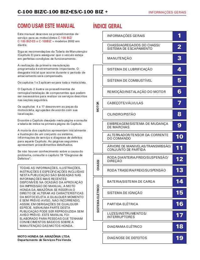 C-100 BIZ/C-100 BIZ•ES/C-100 BIZ + INFORMAÇÕES GERAIS COMO USAR ESTE MANUAL Este manual descreve os procedimentos de servi...