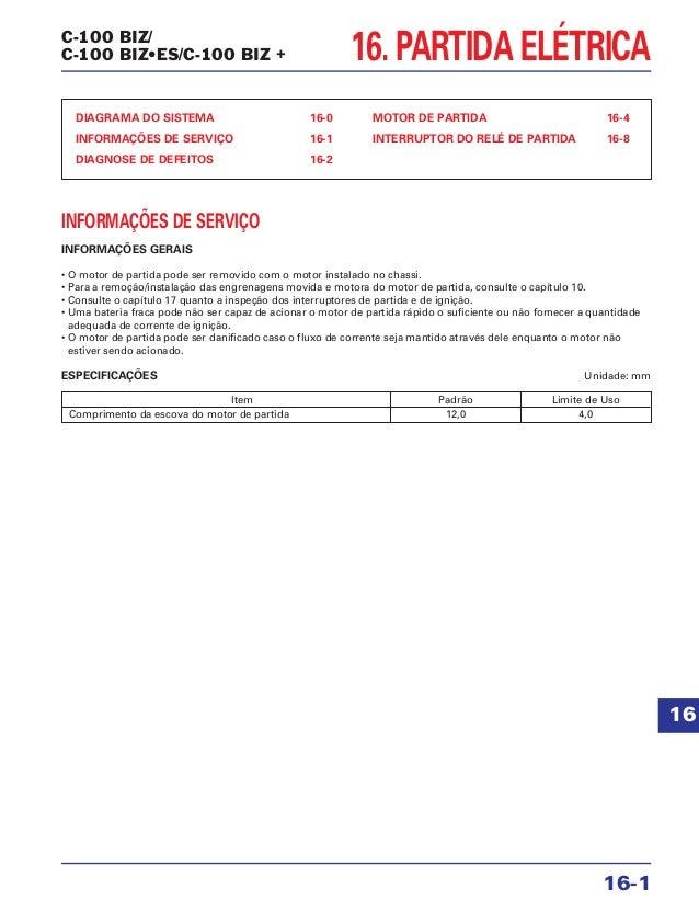 16. PARTIDA ELÉTRICA DIAGRAMA DO SISTEMA 16-0 INFORMAÇÕES DE SERVIÇO 16-1 DIAGNOSE DE DEFEITOS 16-2 MOTOR DE PARTIDA 16-4 ...