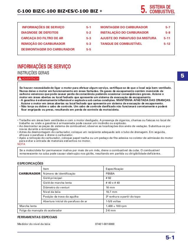 C-100 BIZ/C-100 BIZ•ES/C-100 BIZ + SISTEMA DE COMBUSTÍVEL INFORMAÇÕES DE SERVIÇO 5-1 DIAGNOSE DE DEFEITOS 5-2 CARCAÇA DO F...