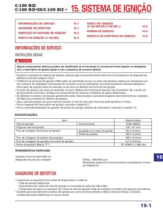 C-100 BIZ/ C-100 BIZ•ES/C-100 BIZ + 15. SISTEMA DE IGNIÇÃO INFORMAÇÕES DE SERVIÇO 15-1 DIAGNOSE DE DEFEITOS 15-1 INSPEÇÃO ...