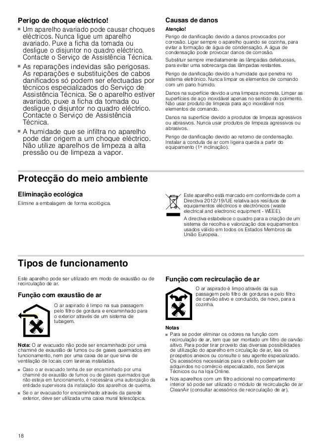 19 Utilização Estas instruções aplicam-se a vários modelos de aparelhos. É possível que sejam descritos vários pormenores ...