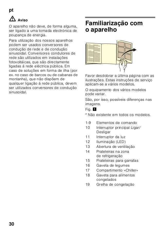 pt 30 ã=Aviso O aparelho não deve, de forma alguma, ser ligado a uma tomada electrónica de poupança de energia. Para utili...