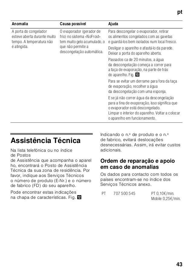 pt 43 Assistência Técnica Na lista telefónica ou no índice de Postos de Assistência que acompanha o aparel ho, encontrará ...