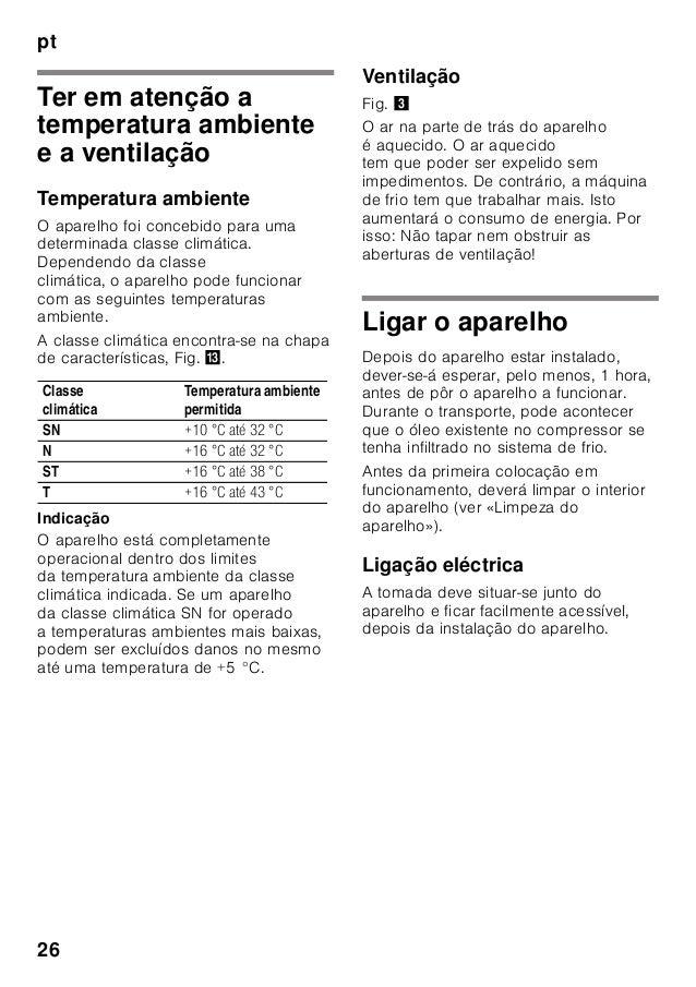 pt 26 Ter em atenção a temperatura ambiente e a ventilação Temperatura ambiente O aparelho foi concebido para uma determin...