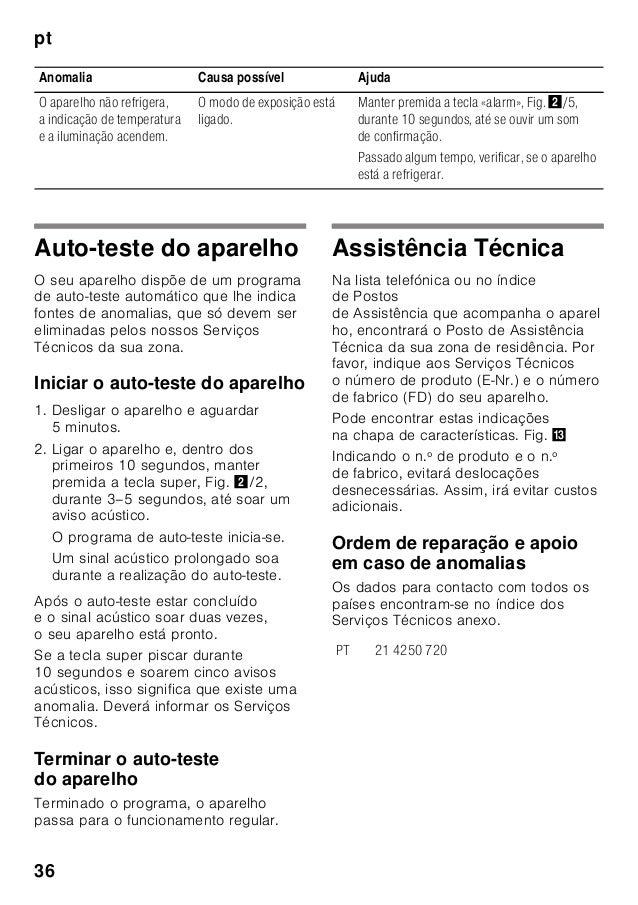 pt 36 Auto-teste do aparelho O seu aparelho dispõe de um programa de auto-teste automático que lhe indica fontes de anomal...