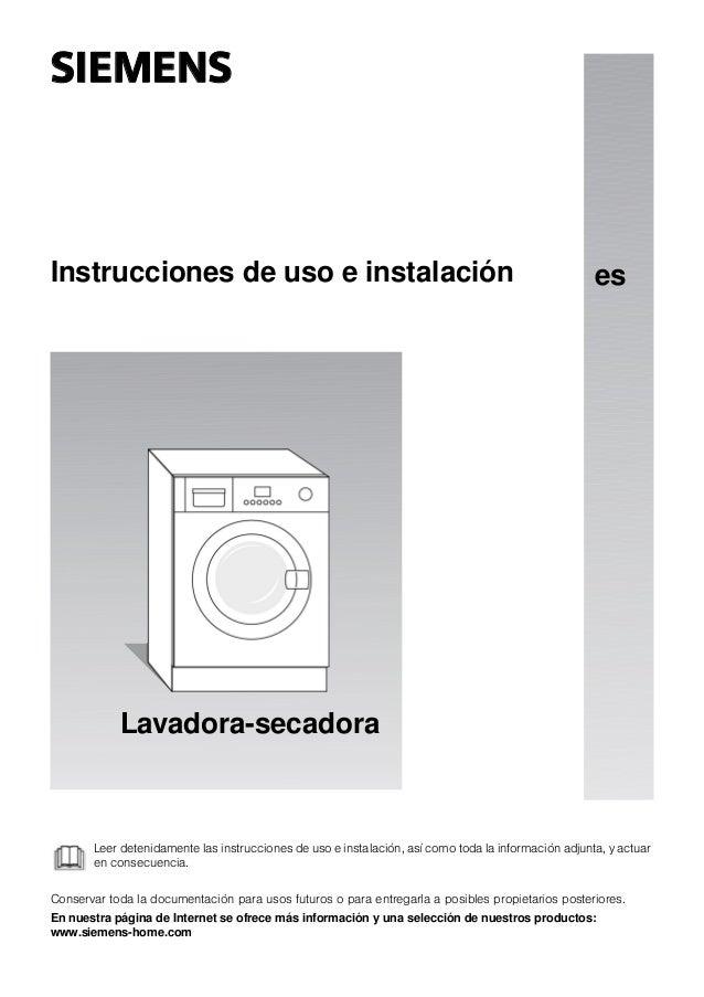 Manual Siemens Lavadora Secadora Wk12d320ee