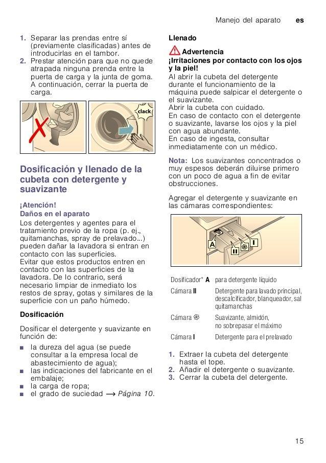 Manejo del aparato es 15 1. Separar las prendas entre sí (previamente clasificadas) antes de introducirlas en el tambor. 2...