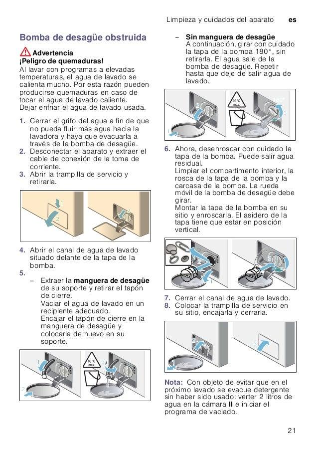 Limpieza y cuidados del aparato es 21 Bomba de desagüe obstruida :Advertencia ¡Peligro de quemaduras! Al lavar con program...