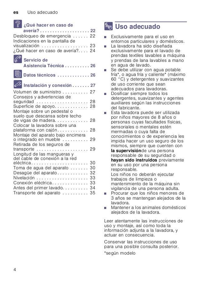 es Uso adecuado 4 3 ¿Qué hacer en caso de avería? . . . . . . . . . . . . . . . . . . . . 22 Desbloqueo de emergencia . . ...