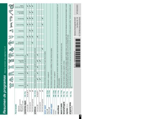 7 0710/9000556919 *556919* SiemensElectrogeräteGmbH Carl-WeryStr.34 81739München/Deutschland WT46S530EE Resumendeprogramas...