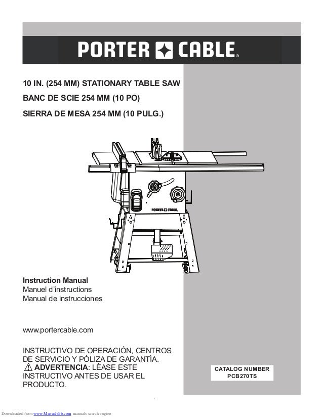 Manual Sierra Banco Porter Cable