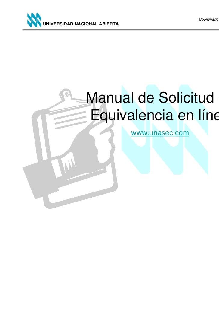 Coordinación de Traslado, Equivalencia de Estudios,UNIVERSIDAD NACIONAL ABIERTA                                    Reválid...