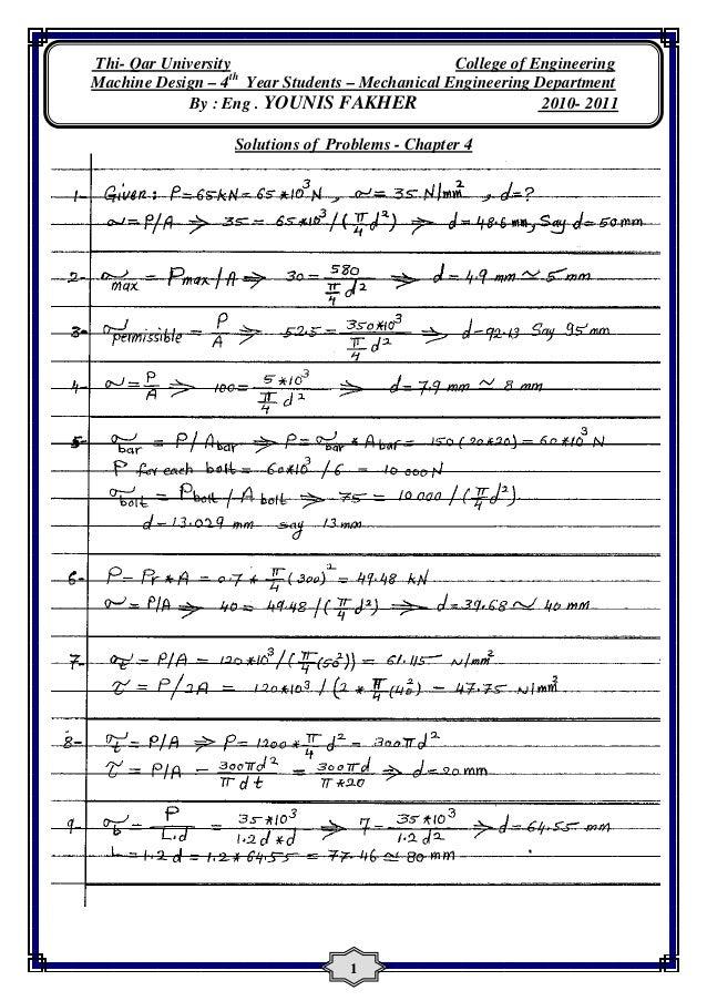Design Of Machine Elements Solution Manual Pdf