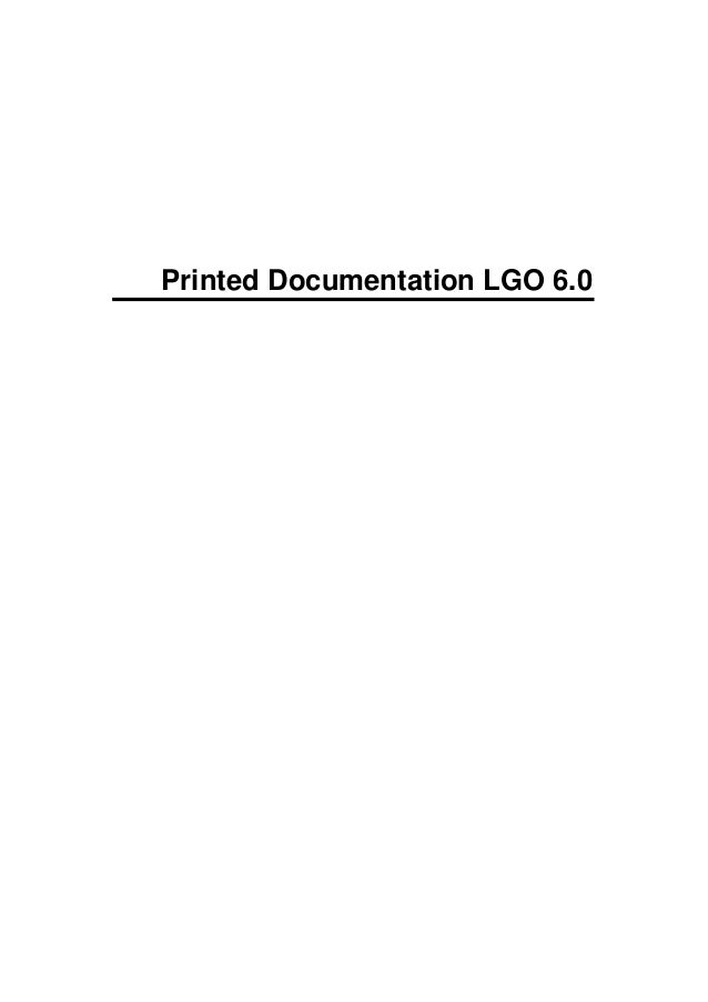 Printed Documentation LGO 6.0