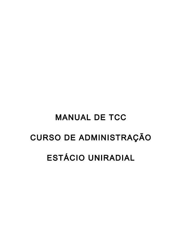 MANUAL DE TCC CURSO DE ADMINISTRAÇÃO ESTÁCIO UNIRADIAL