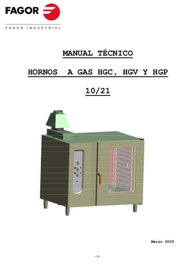 MANUAL TÉCNICOHORNOS   A GAS HGC, HGV Y HGP             10/21                          Marzo 2005               -1-