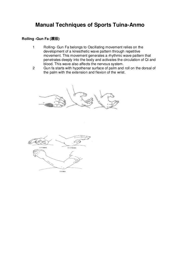 Manual Techniques of Sports Tuina-AnmoRolling -Gun Fa (滚法)     1     Rolling- Gun Fa belongs to Oscillating movement relie...