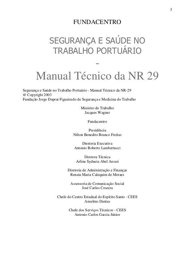 SEGURANÇA E SAÚDE NO TRABALHO PORTUÁRIO - Manual Técnico da NR 29 Slide 3