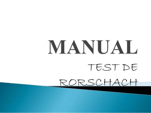 Manual test rorschach pdf