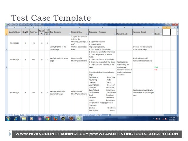 test suite template - manual software testing