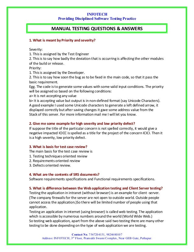 manual testing interview questions by infotech rh slideshare net manual testing interview questions and answers for experienced in capgemini manual testing interview questions and answers