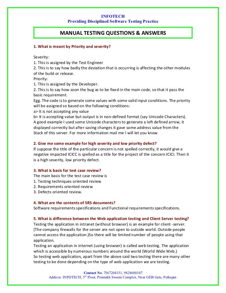 Manual Testing Interview Question By INFOTECH. INFOTECH Providing  Disciplined Software Testing Practice .