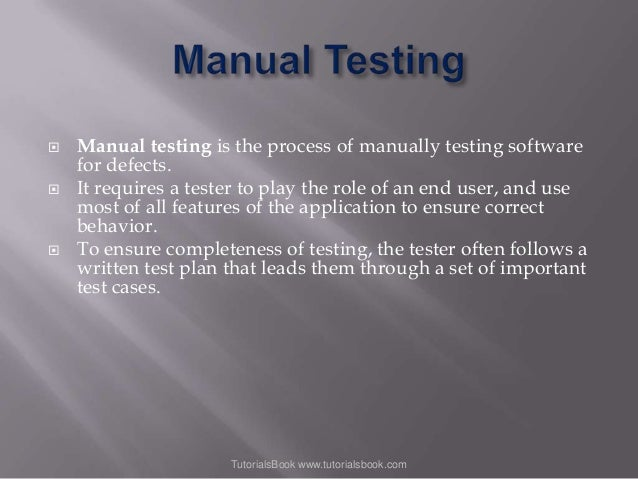      Manual testing is the process of manually testing software for defects. It requires a tester to play the role of a...