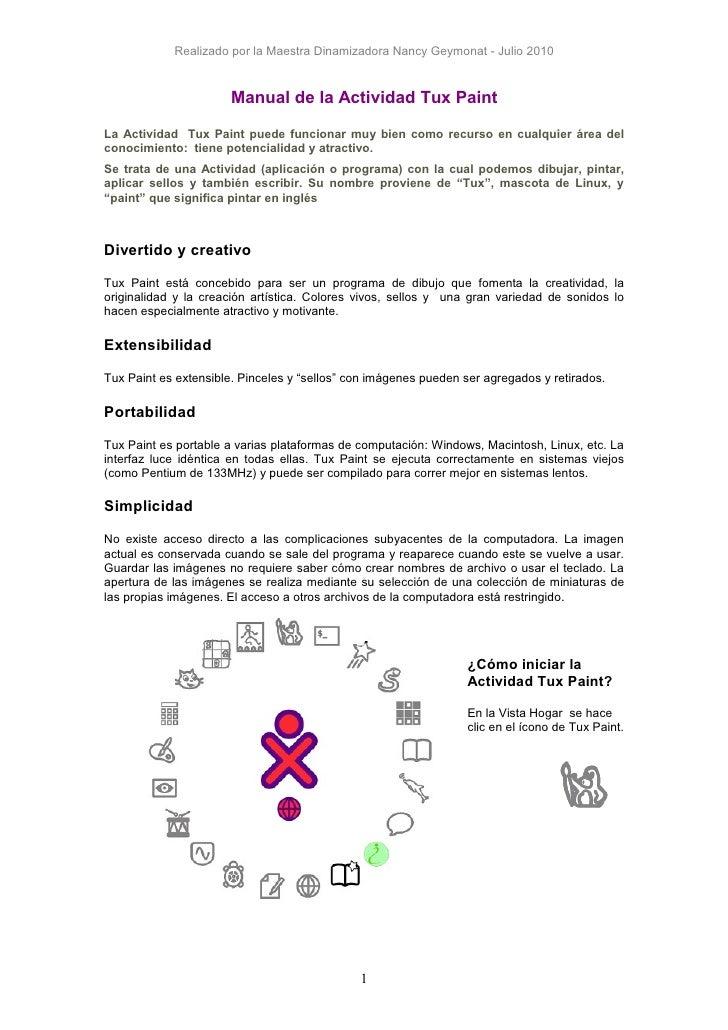 Realizado por la Maestra Dinamizadora Nancy Geymonat - Julio 2010                       Manual de la Actividad Tux PaintLa...