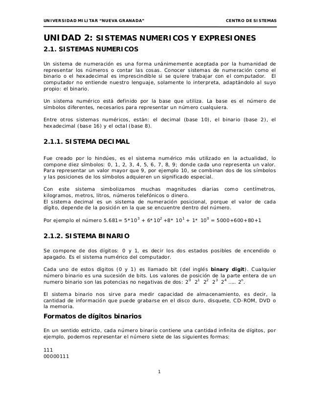 """UNIVERSIDAD MILITAR """"NUEVA GRANADA""""                                   CENTRO DE SISTEMASUNIDAD 2: SISTEMAS NUMERICOS Y EXP..."""