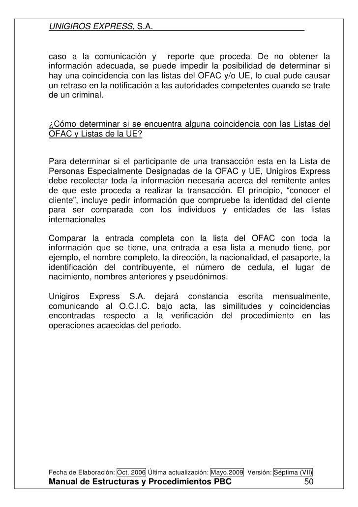 Manual Unigiros Express S.A.Prevencion De Blanqueo De Capitales