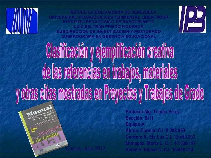 REPÚBLICA BOLIVARIANA DE VENEZUELAUNIVERSIDAD PEDAGÓGICA EXPERIMENTAL LIBERTADOR      INSTITUTO PEDAGÓGICO DE BARQUISIMETO...