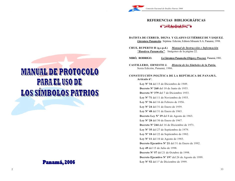Manual de uso de los simbolos Patrios de Panamá
