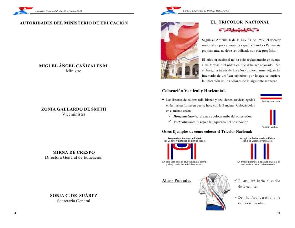 Manual de uso de los simbolos patrios de panam for Como se llama el ministro del interior