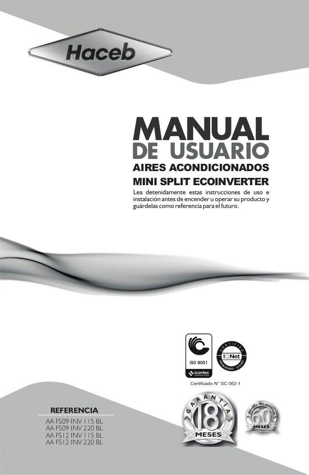 Manual usuario mini splits inverter