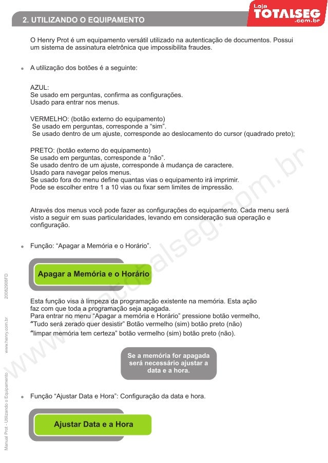 Manual Utilizando o Equipamento Protocolador Henry Prot - LojaTotalseg.com.br