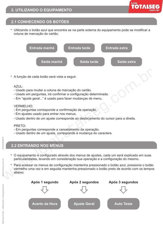 Manual Utilizando o Equipamento Relógio de Ponto Henry Forte - LojaTotalseg.com.br