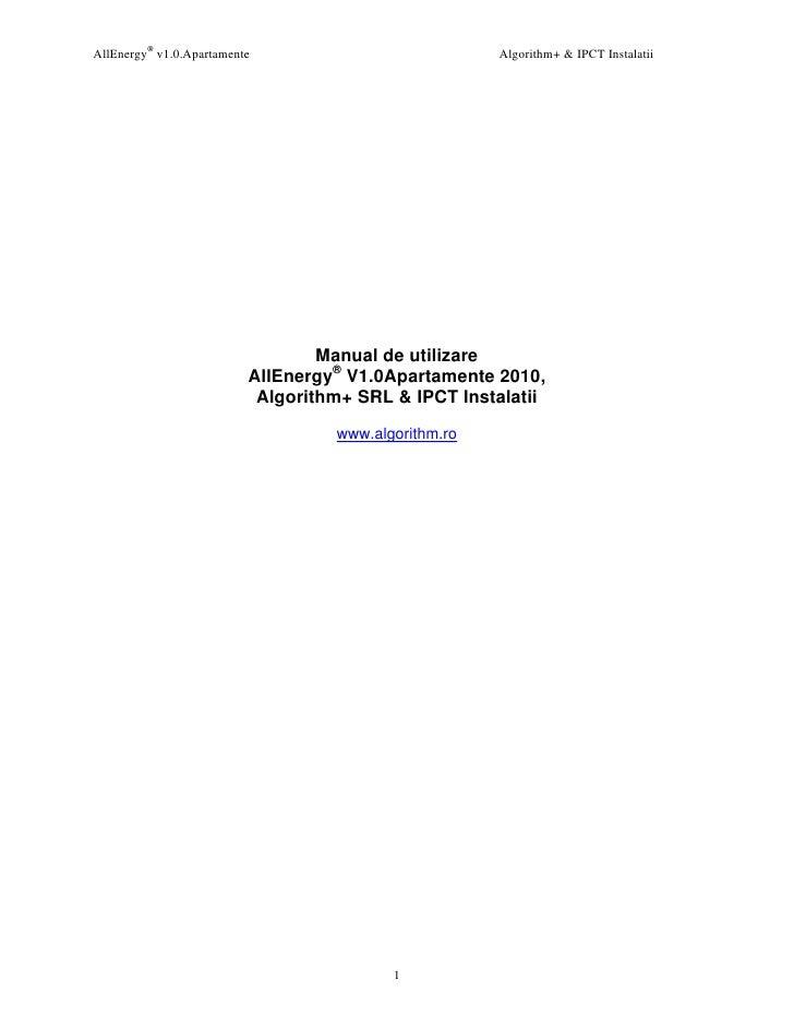AllEnergy® v1.0.Apartamente                           Algorithm+ & IPCT Instalatii                                       M...