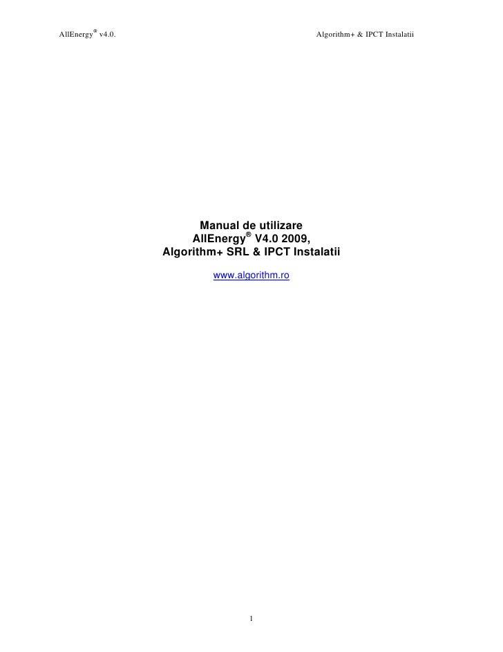 AllEnergy® v4.0.                               Algorithm+ & IPCT Instalatii                               Manual de utiliz...