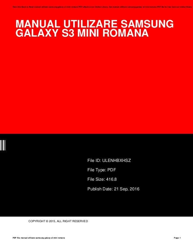manual utilizare samsung galaxy s3 mini romana rh slideshare net